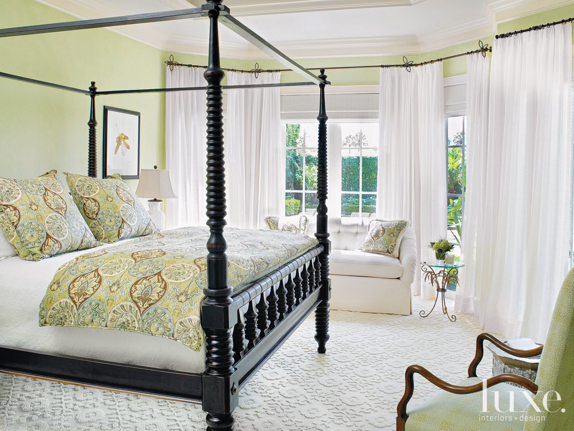 Mediterranean Green Bedroom with Turned-Spindle Bed
