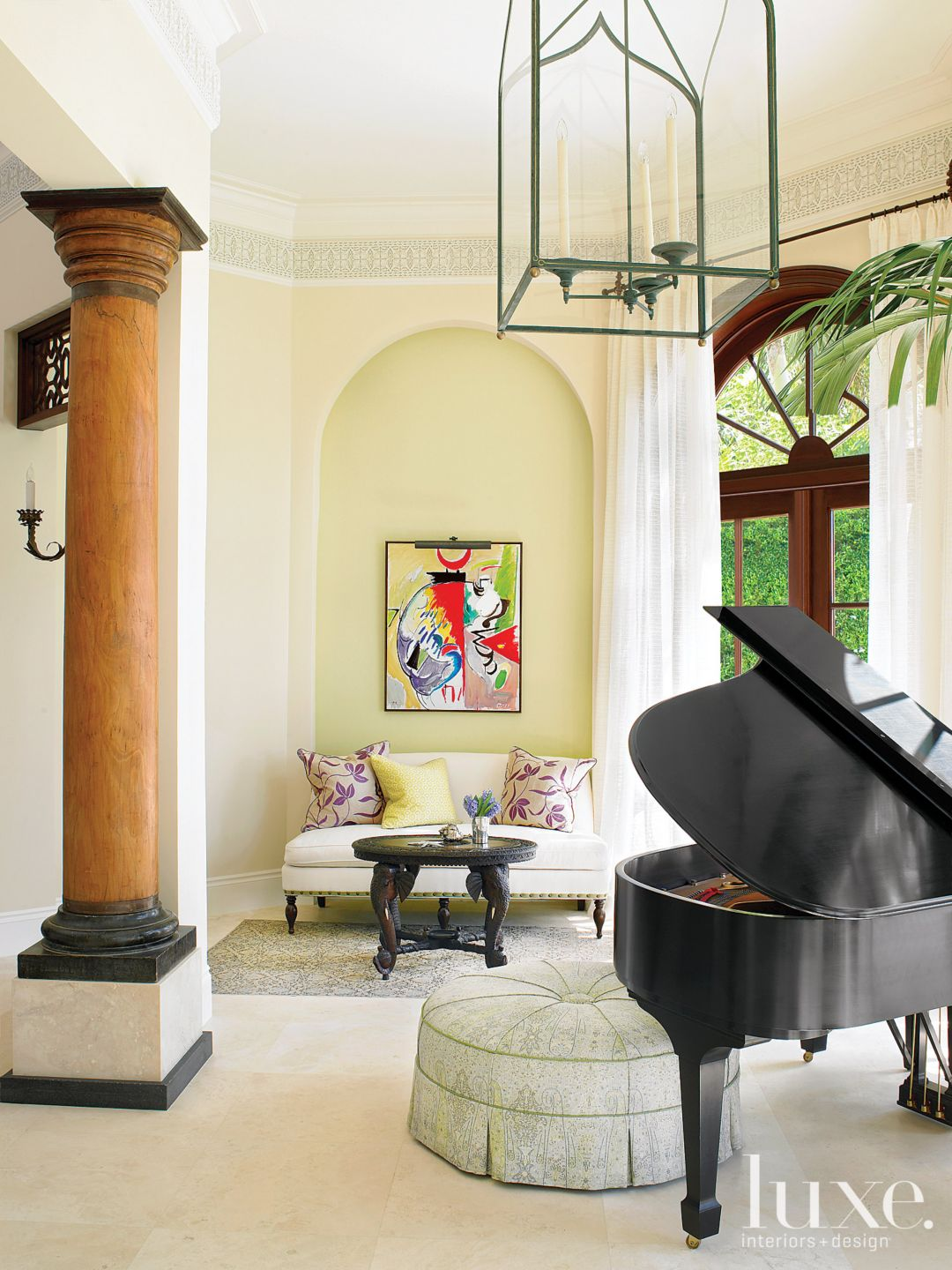 Mediterranean Neutral Sun Room with Piano