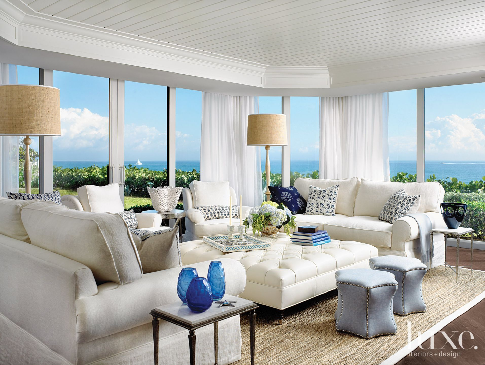 Contemporary White Living Room with Panoramic Ocean Views