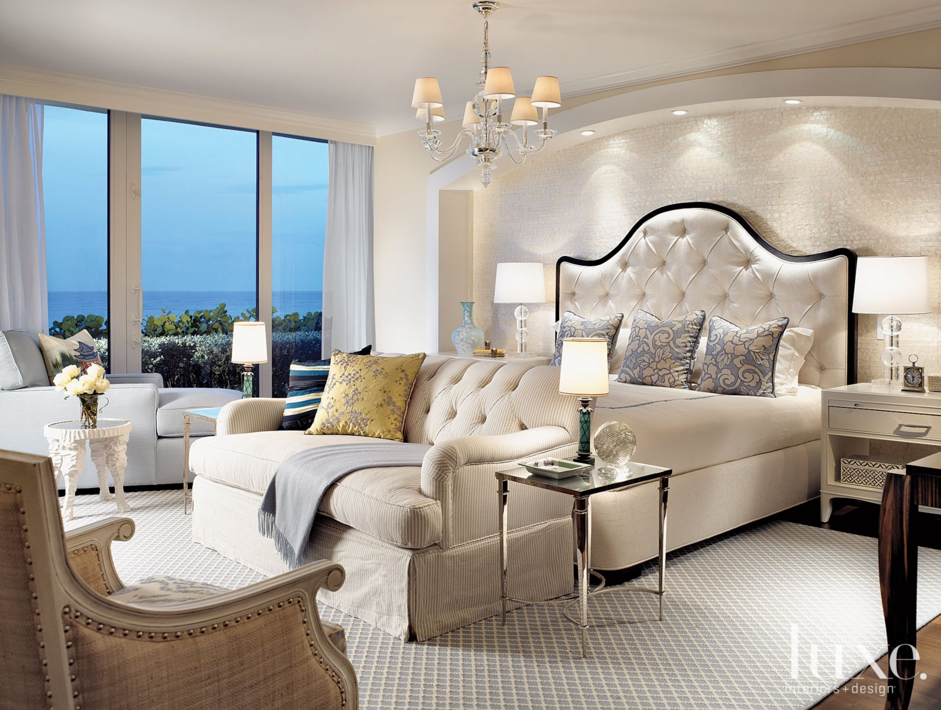 Contemporary White Bedroom with Tufted Sofa