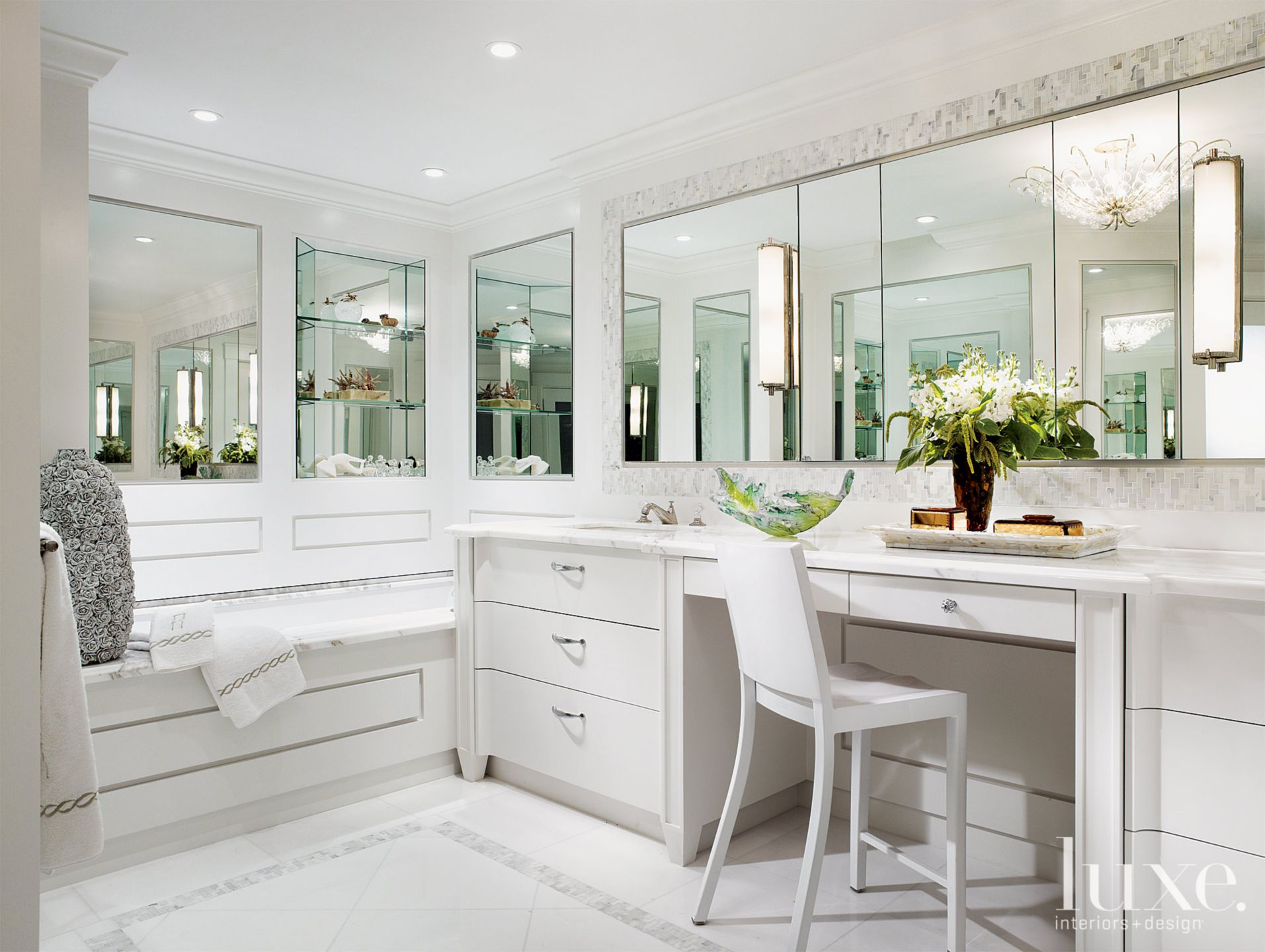 Contemporary White Bathroom with Mosaic Tile Walls