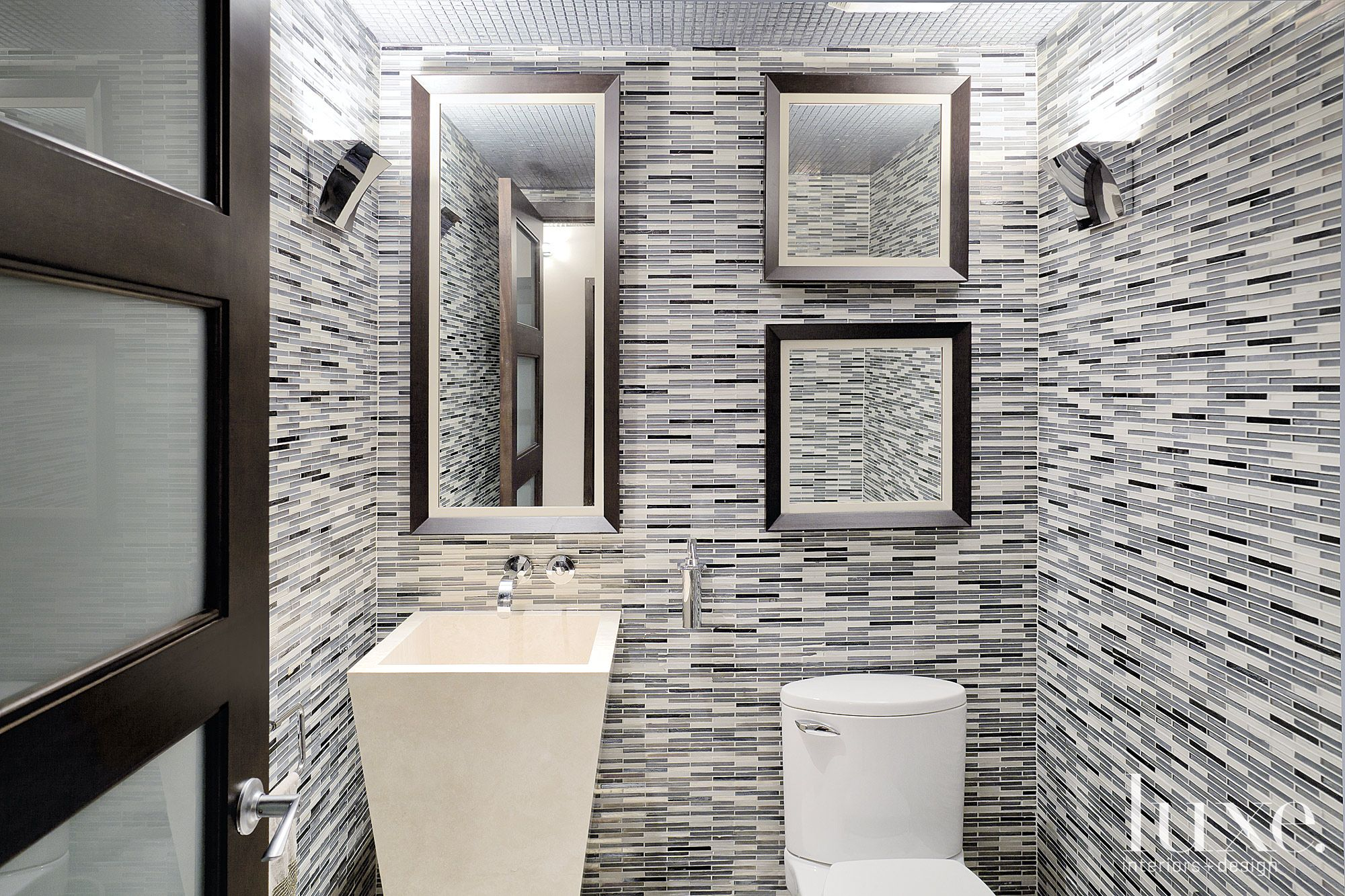 Contemporary Neutral Powder Room with Pedestal Sink
