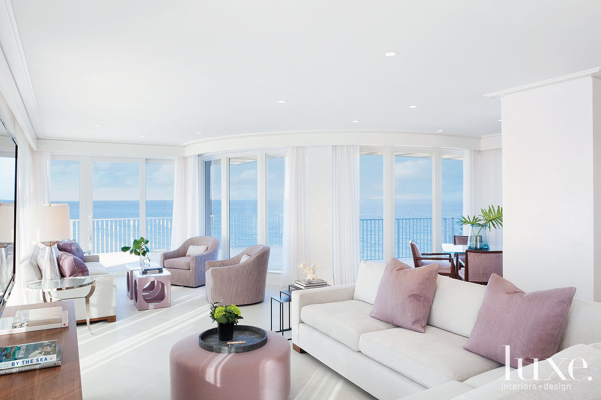 Contemporary White Living Room with Ocean Views