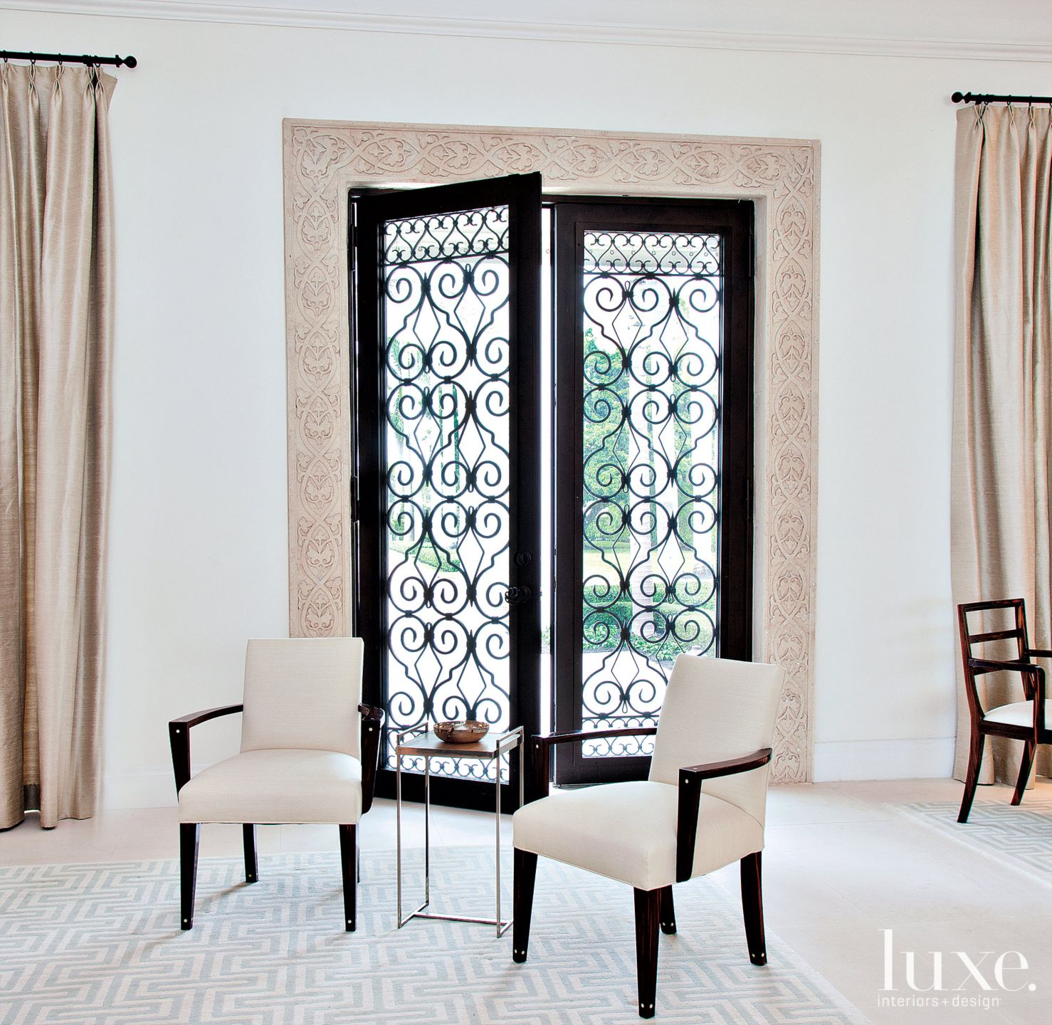 Contemporary White Sitting Area with Double Doors