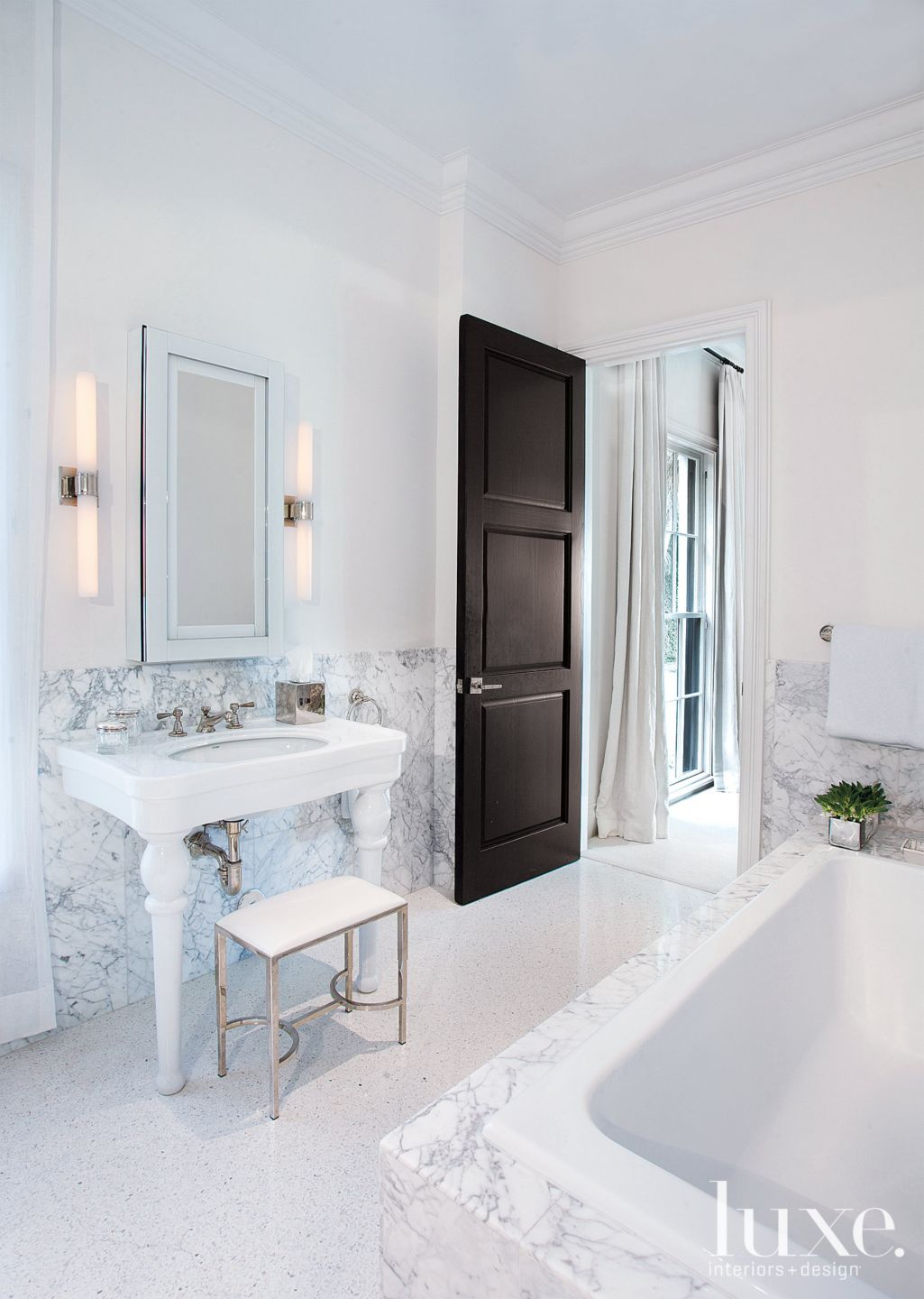 Contemporary White Bathroom with Small Bench