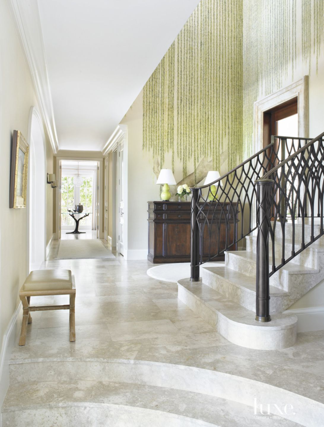 Traditional White Foyer with Hand-Painted Willow Motif