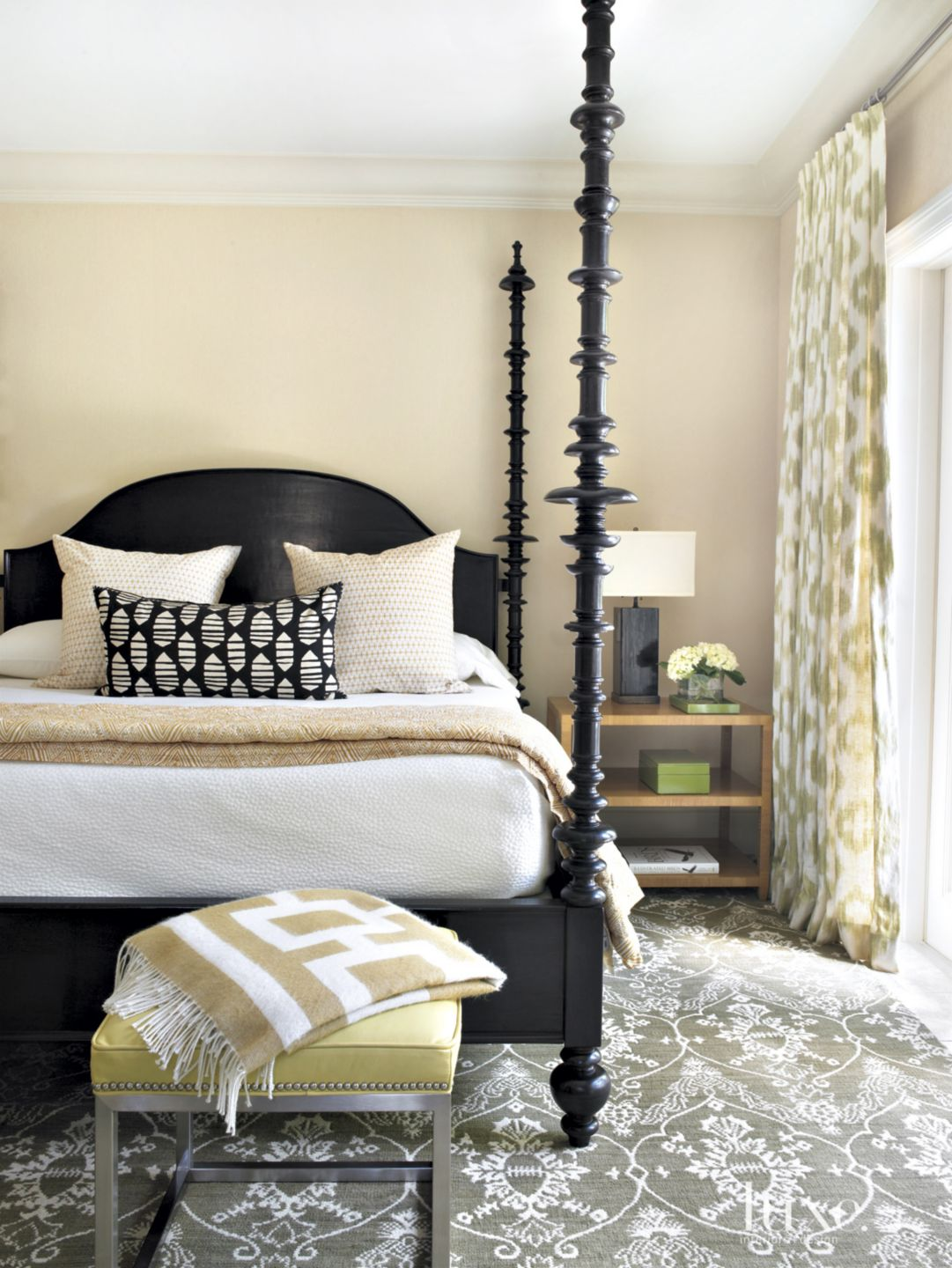Traditional Cream Bedroom with Hints of Green