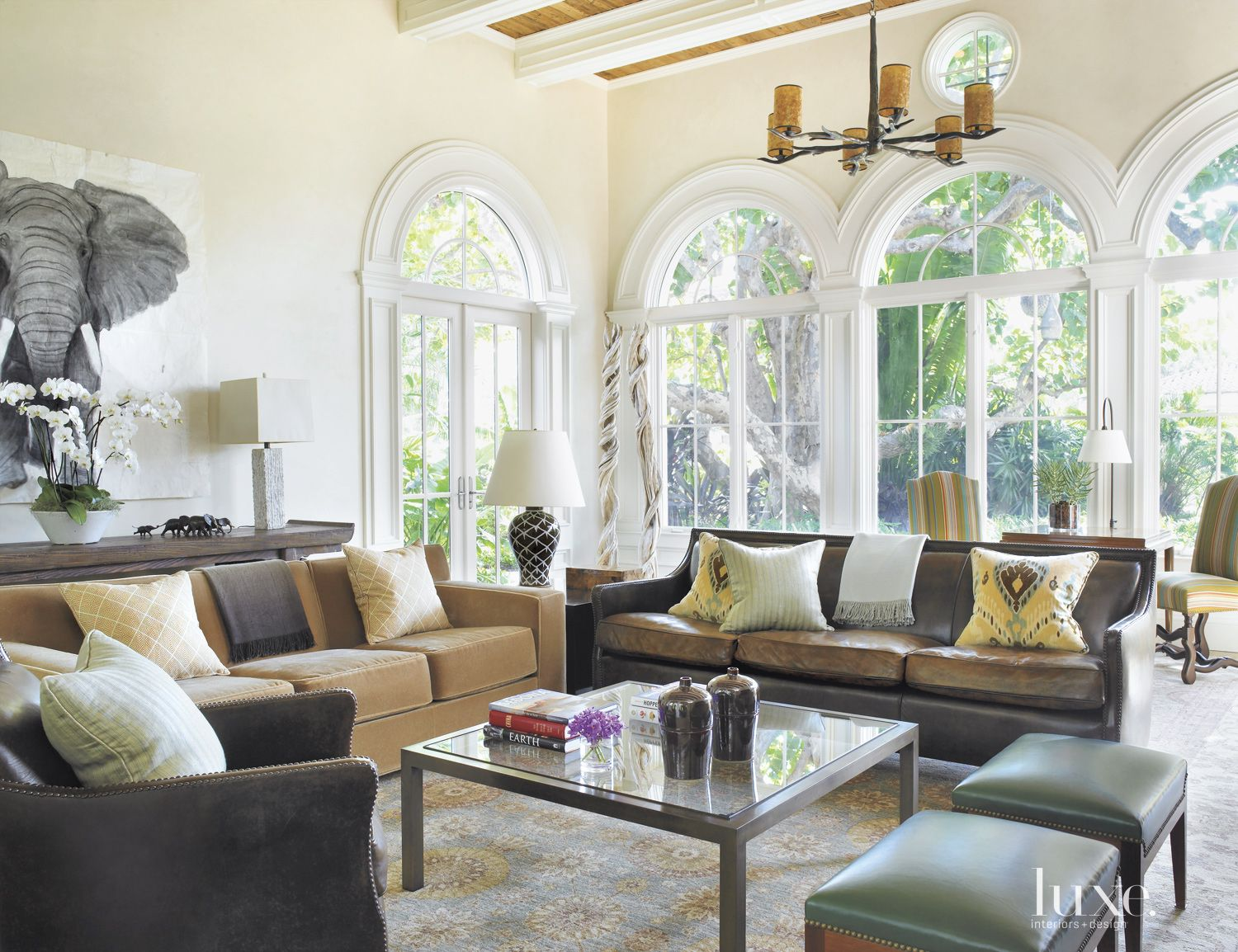 Traditional White Living Room with Arched Picture Windows
