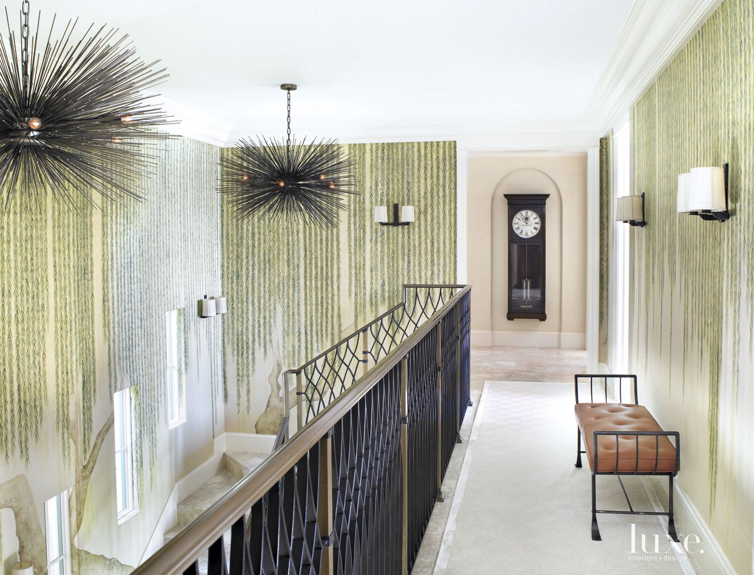 Traditional White Hallway With Hand-Painted Willow Motif