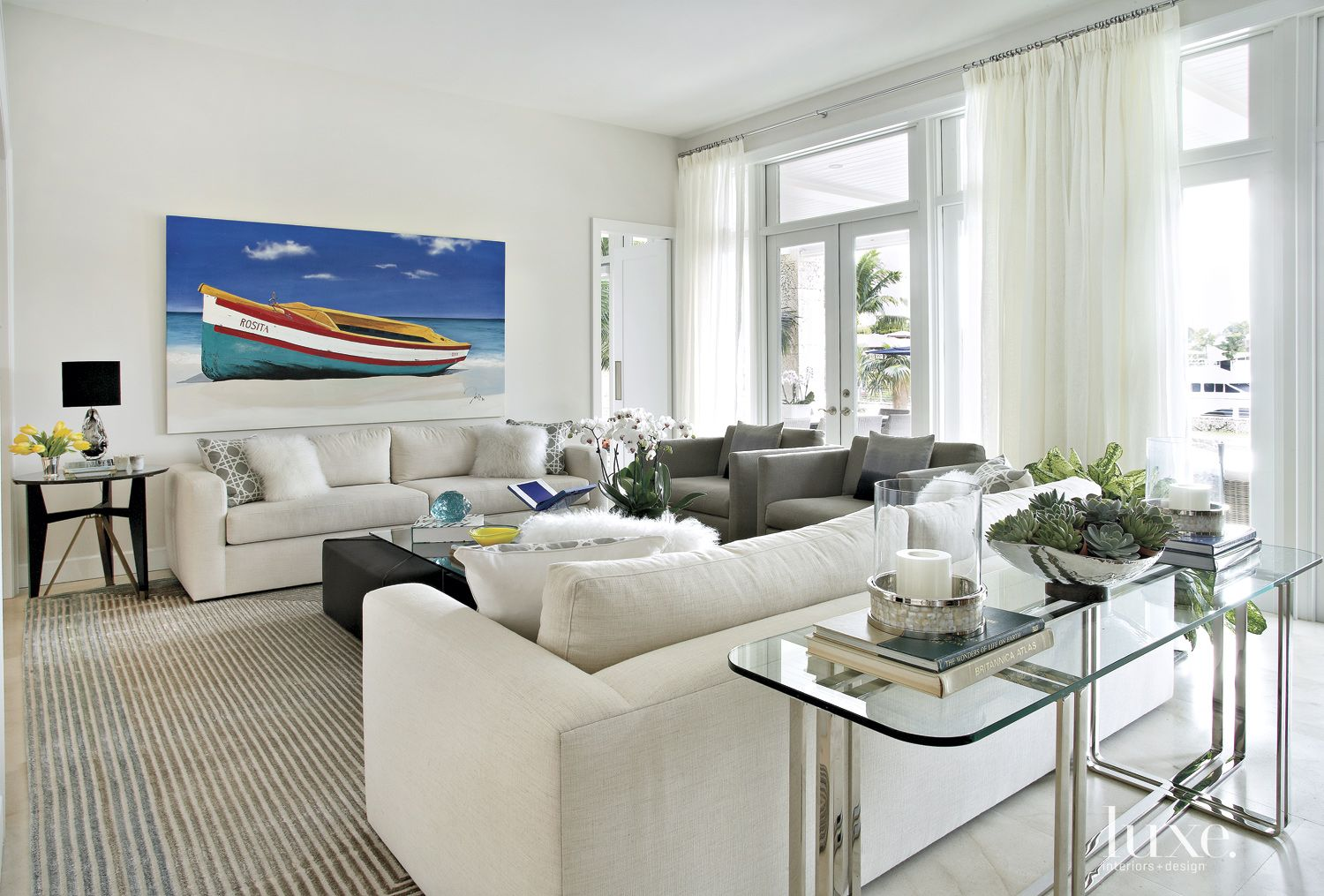 Contemporary White Living Room with Custom Furnishings