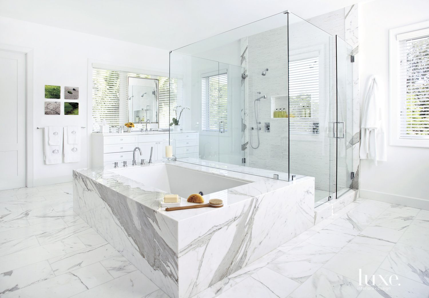 Contemporary White Bathroom with Large Glass  Shower