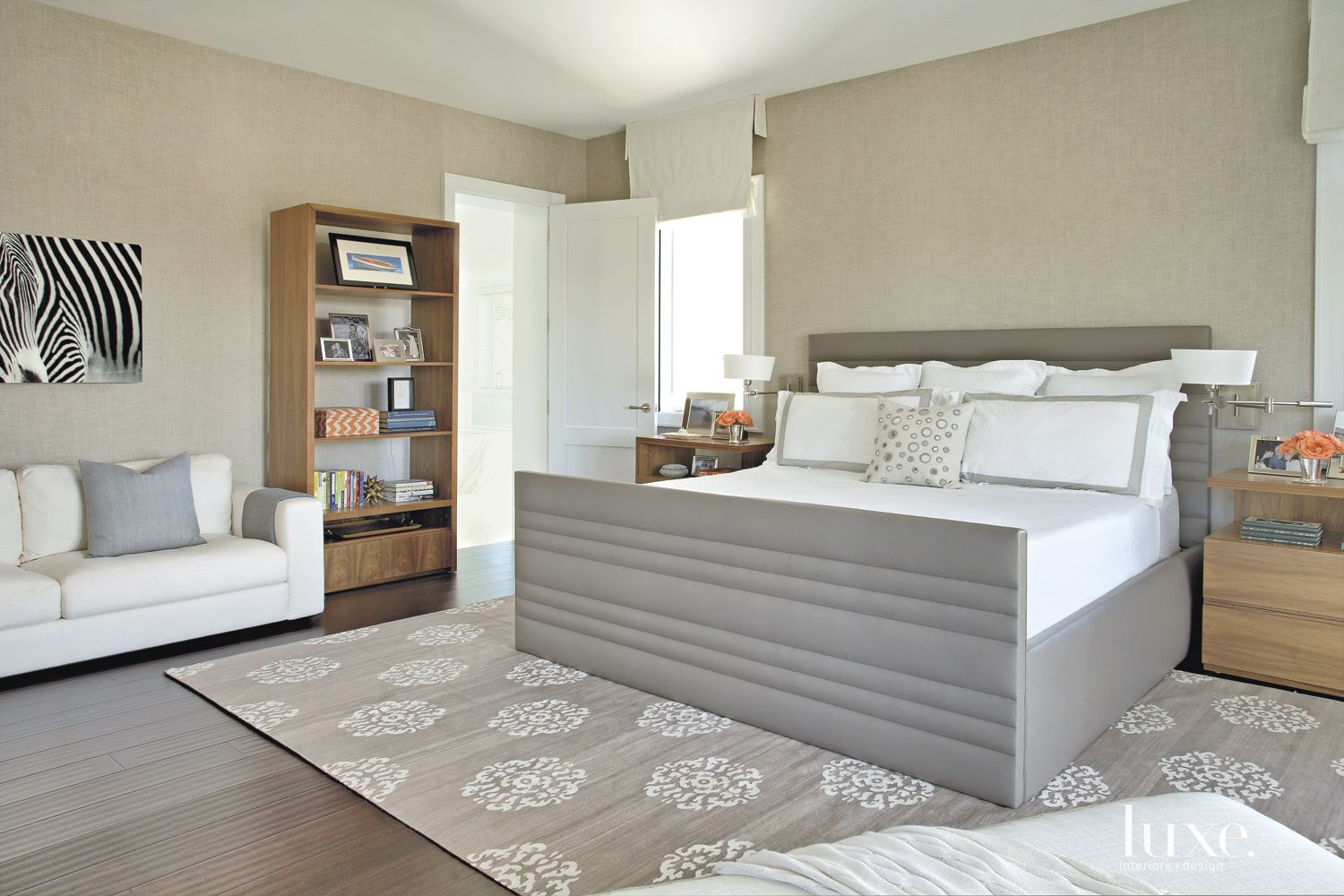 Contemporary Neutral Bedroom with Linen Wall-Covering