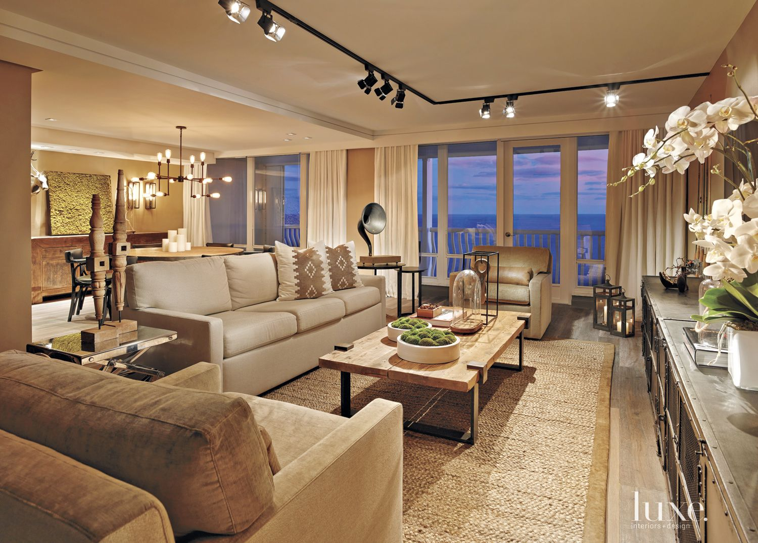Eclectic Neutral Living Room with Oceanfront Views