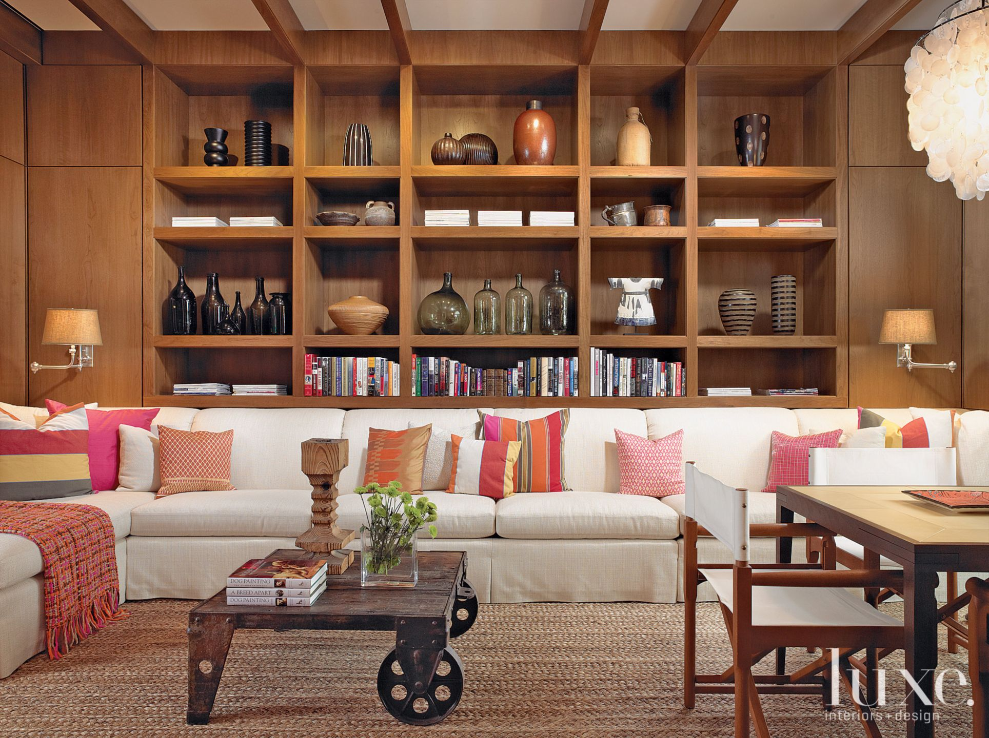 Contemporary Neutral Library with Walnut Paneling