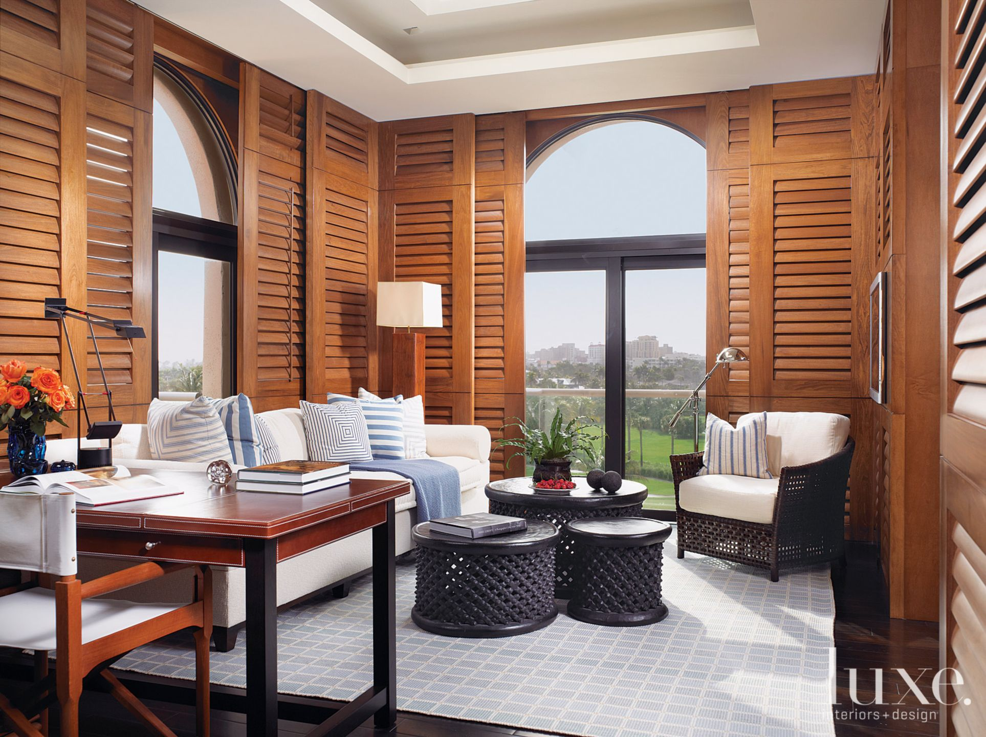 Contemporary Neutral Study with Bamboo Shutters