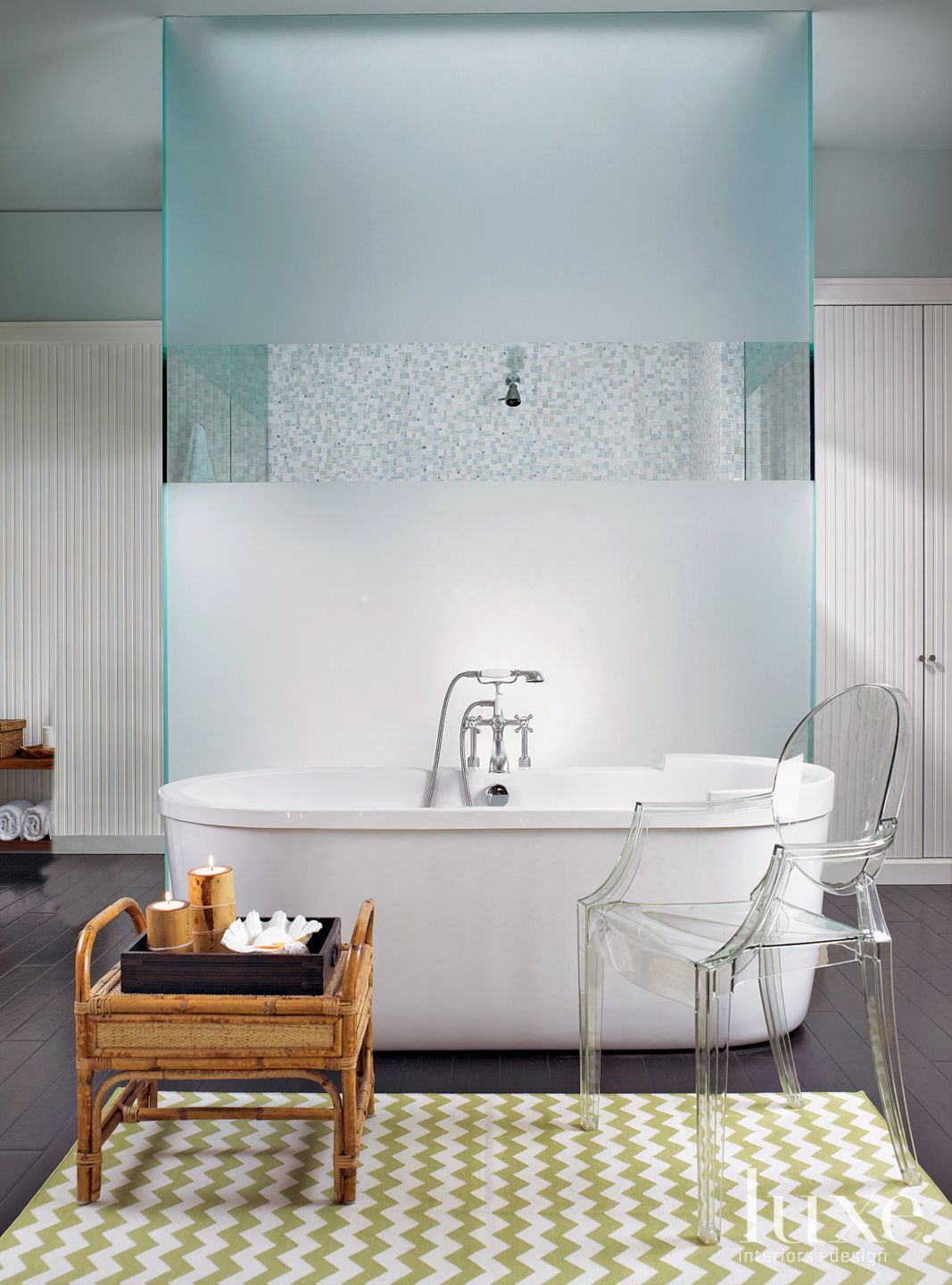 Contemporary White Bathroom with Antique Rattan Table