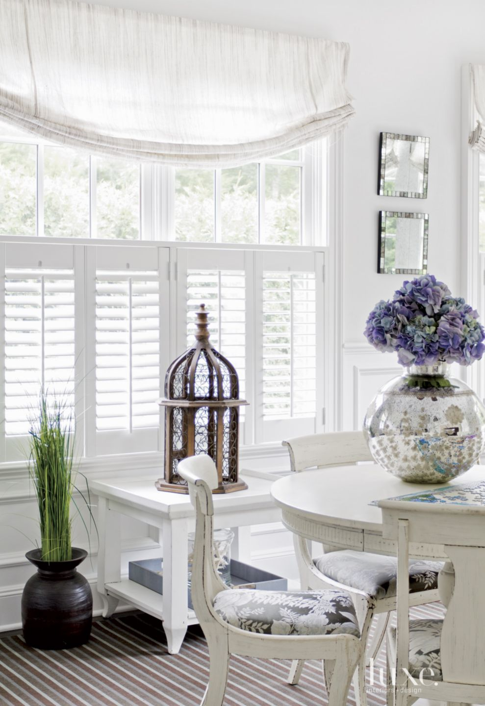 Contemporary White Sunroom Detail with Balloon Shades