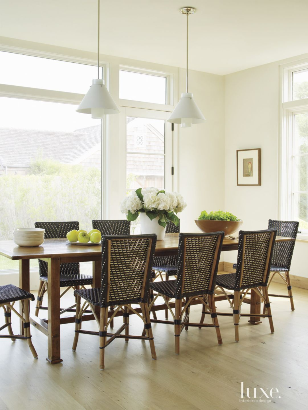 Transitional White Dining Room with
