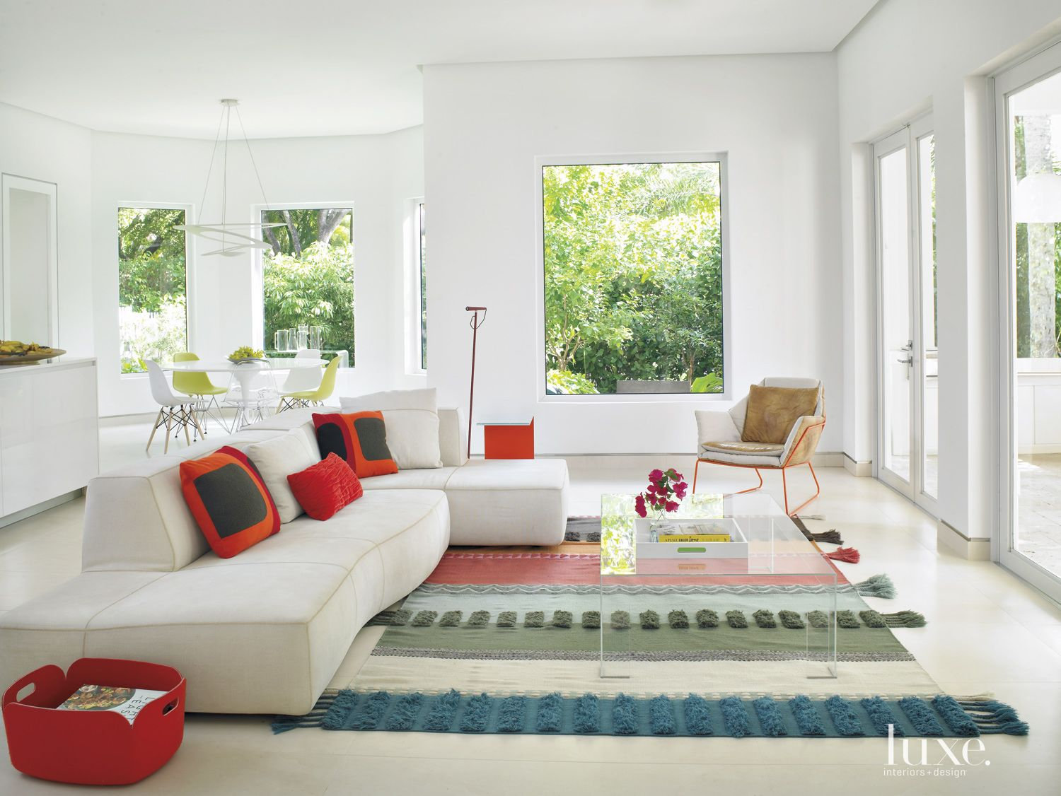 Modern White Family Room with Textured Rug