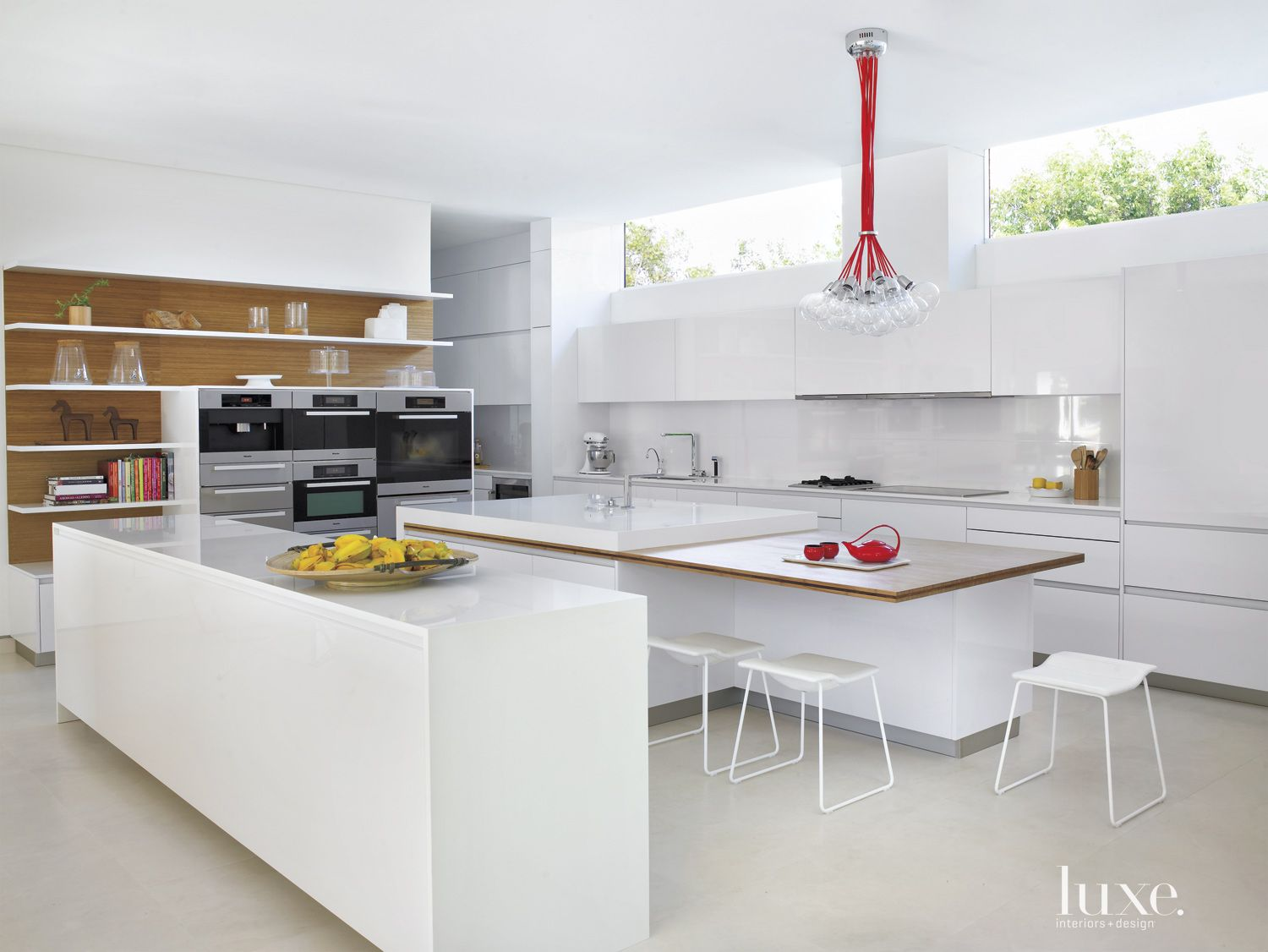 Modern White Kitchen with Floating Shelves