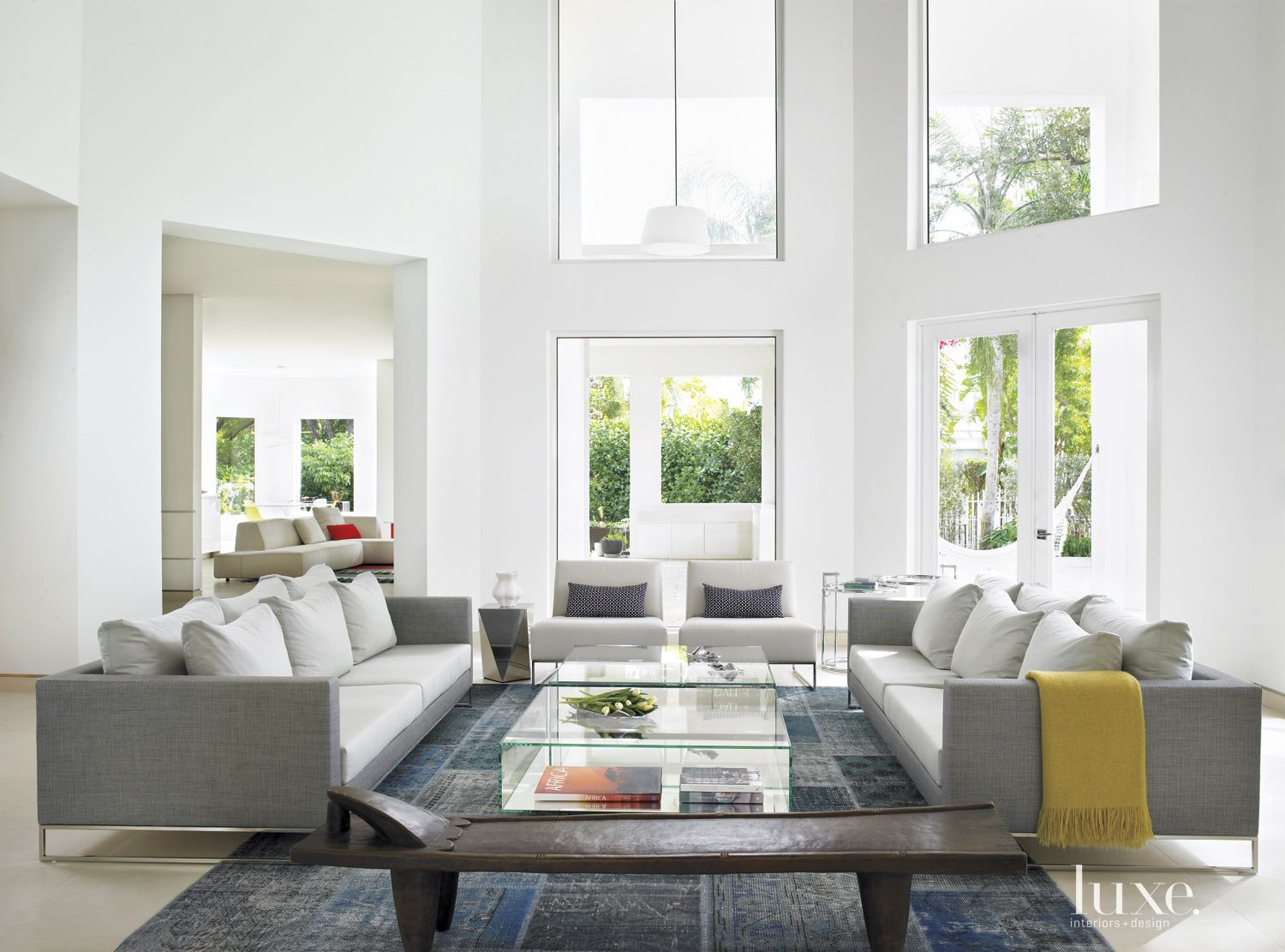 Modern White Living Room with Deep Sofas