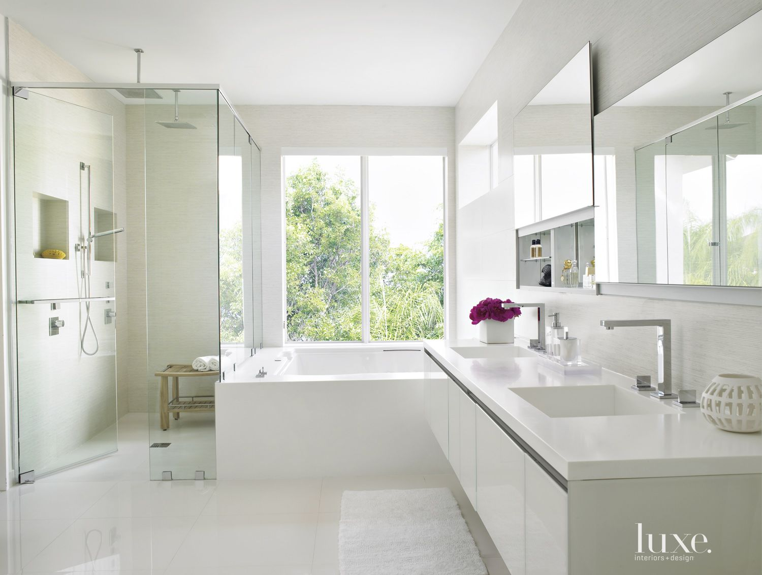 Modern White Bathroom with Sliding Mirror Cabinets