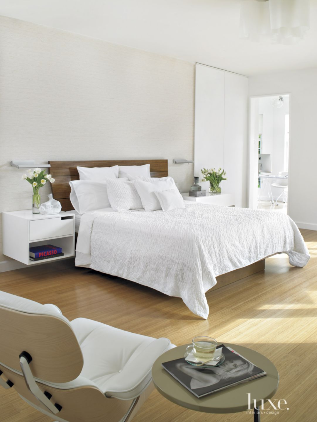 Modern White Bedroom with Floating Side Table