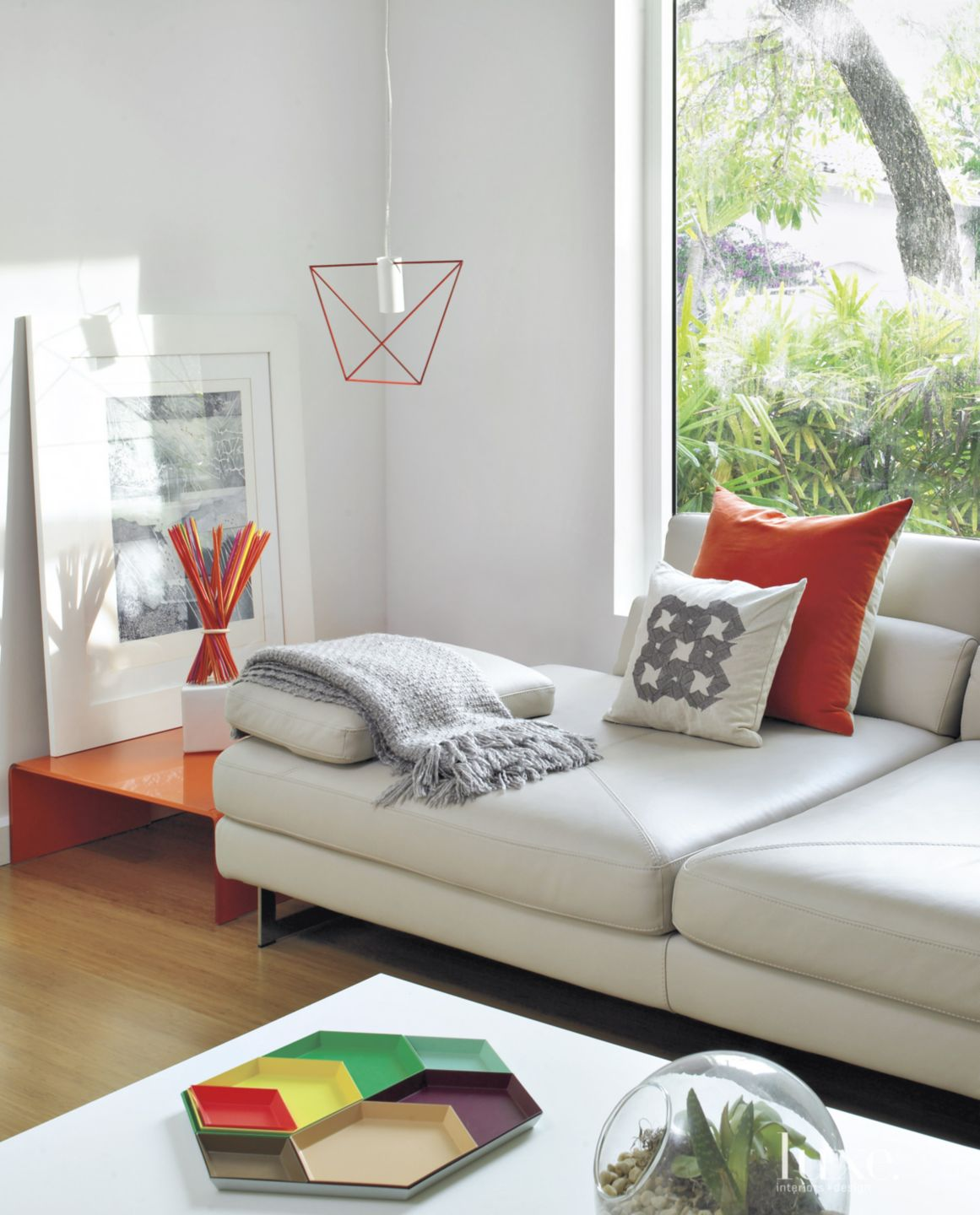 Modern White Sitting Area with Geometric Tray