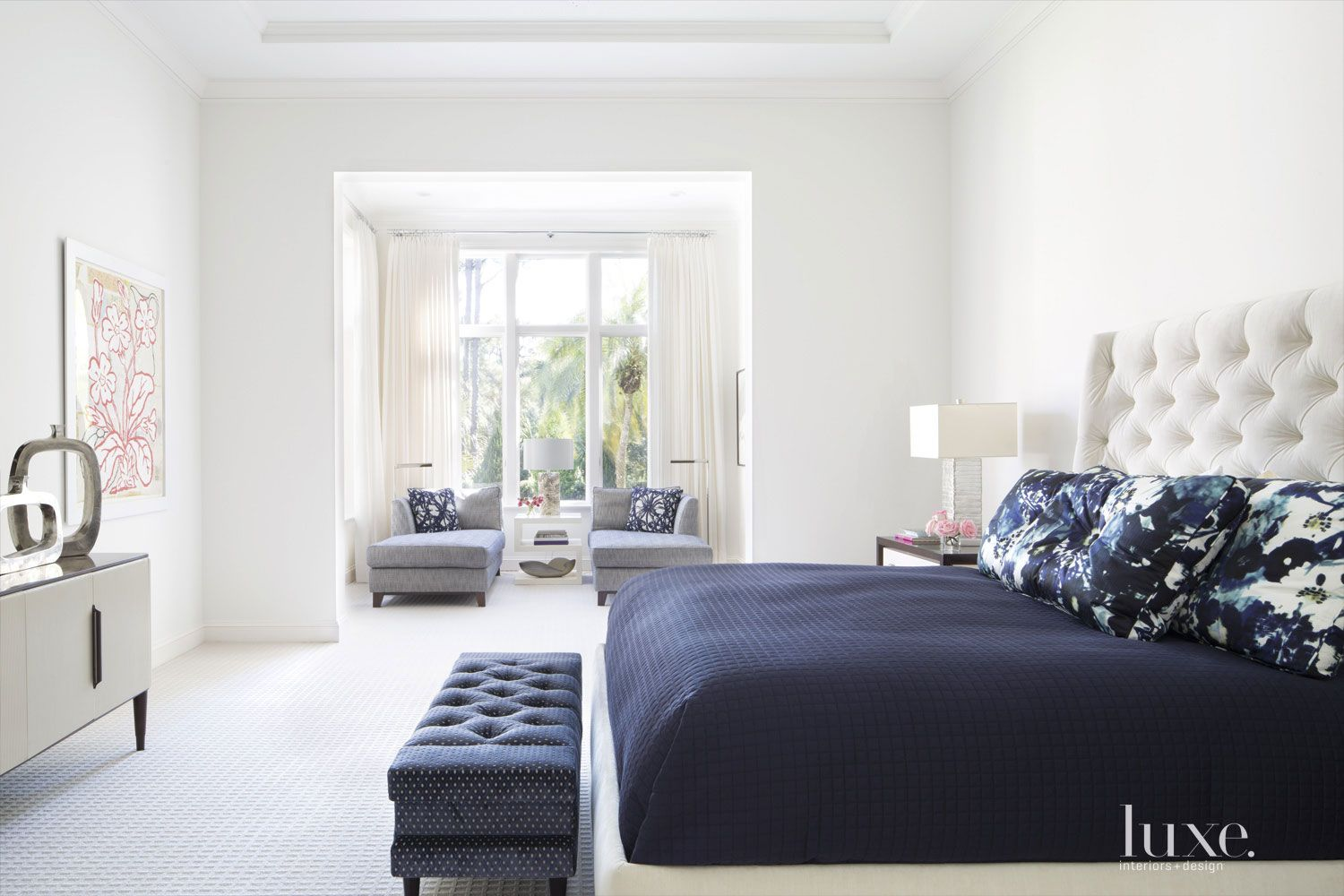 Contemporary White Master Bedroom with Seating Niche