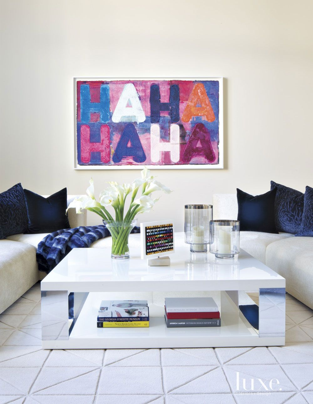 Contemporary White Living Room Artwork
