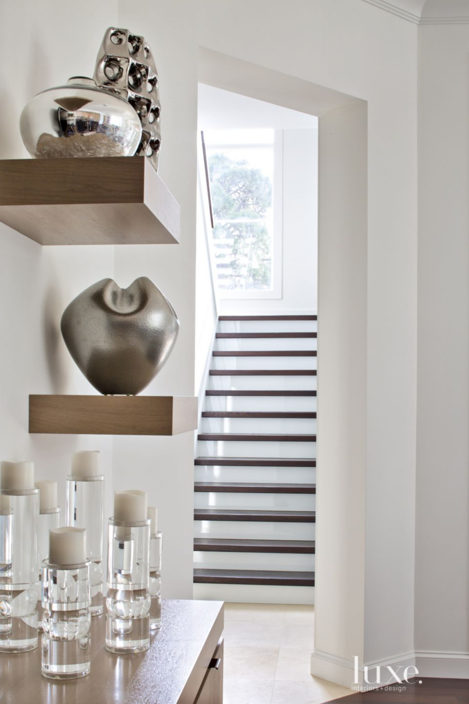 Contemporary White Staircase with Walnut Treads