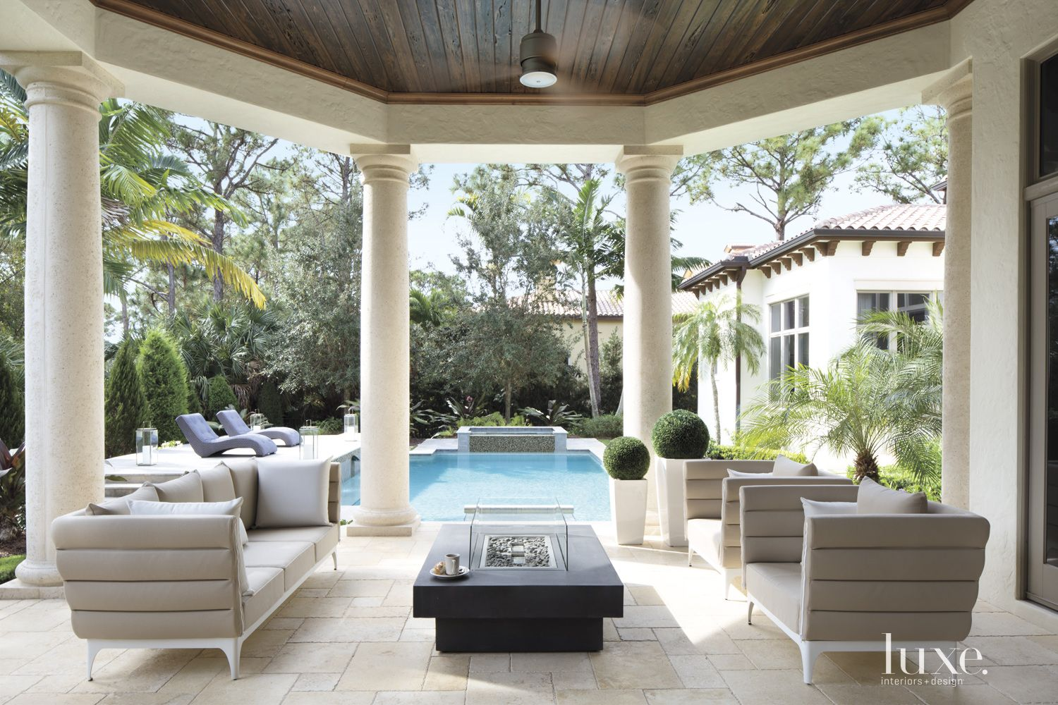 Contemporary Cream Covered Poolside Patio
