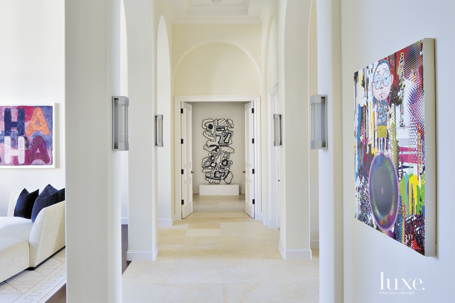 Contemporary White Main Gallery-Like Hallway