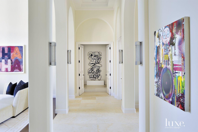 Contemporary White Main Gallery-Like Hallway