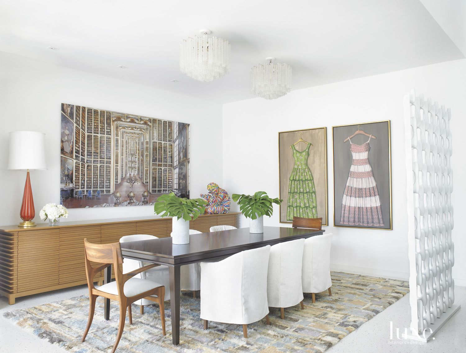 Eclectic White Dining Room with Shag Rug