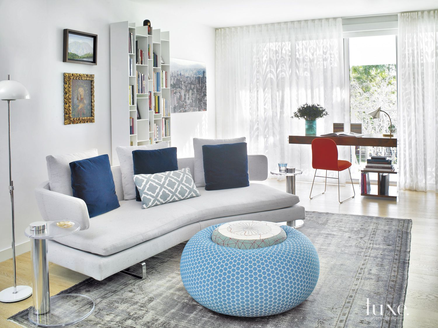 Eclectic White Sitting Area with Colorful Accents
