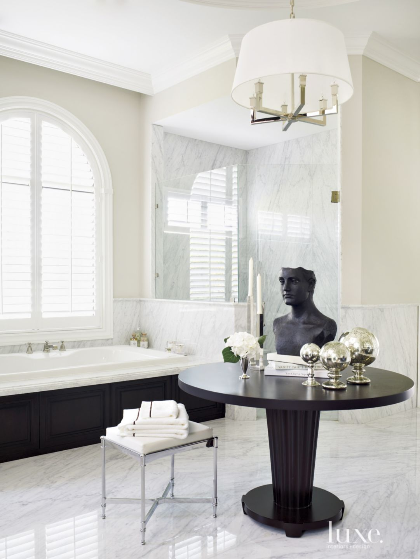 Contemporary Cream Bathroom with Dark Wood Table