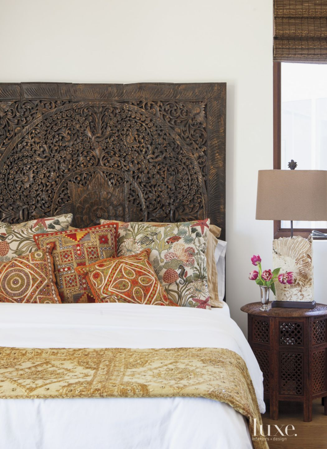 Contemporary White Bedroom with Carved Teak Headboard