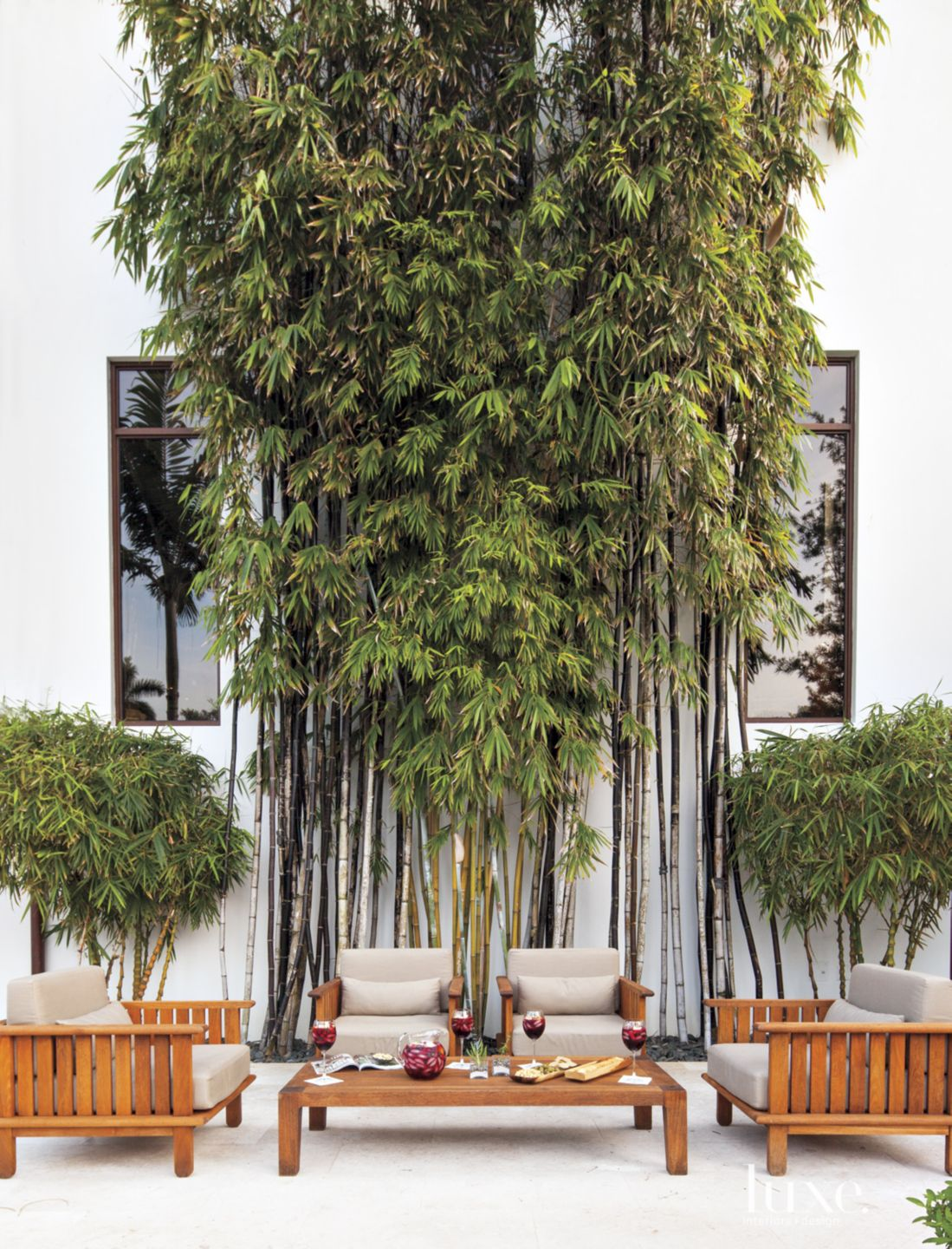 Contemporary Outdoor Seating with Bamboo Shoots