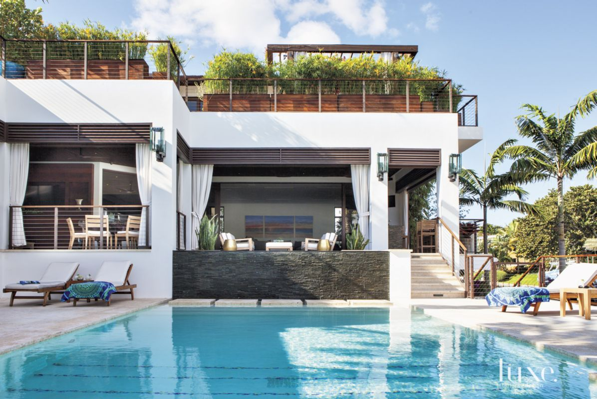 Modern White Rear Elevation with Lap Pool