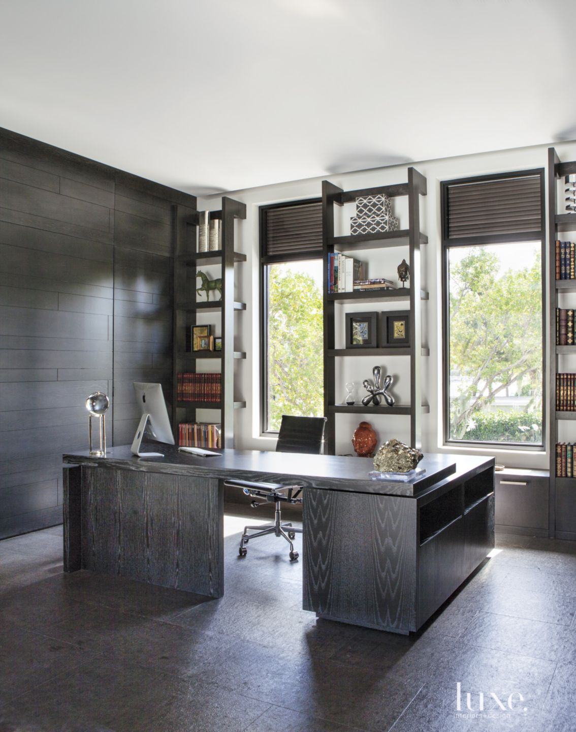 Contemporary Black Library with Custom Bookshelves