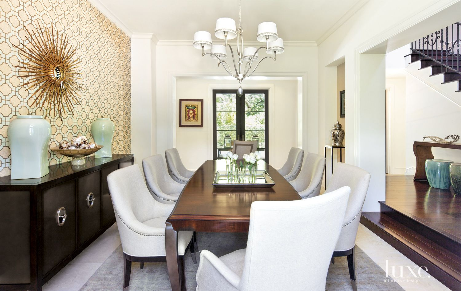 Transitional Neutral Dining Room with Graphic Wallpaper
