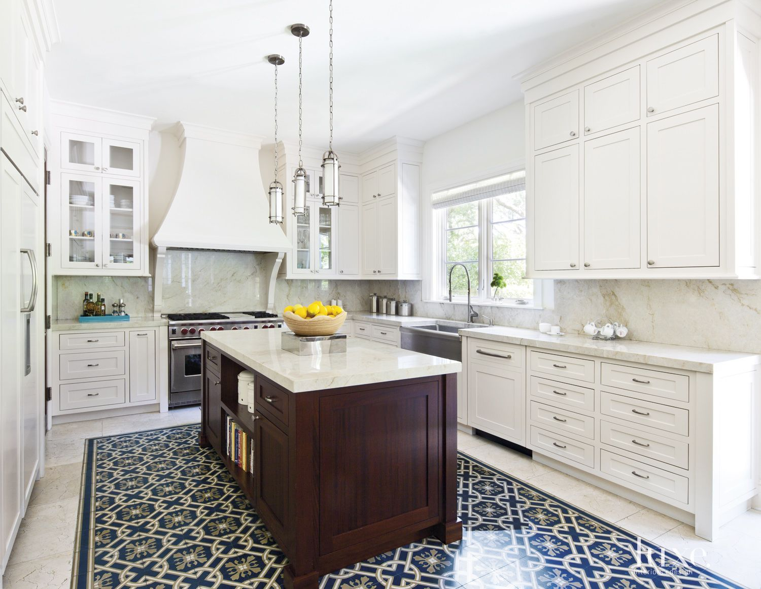 Transitional White Kitchen with Custom Hood Cover
