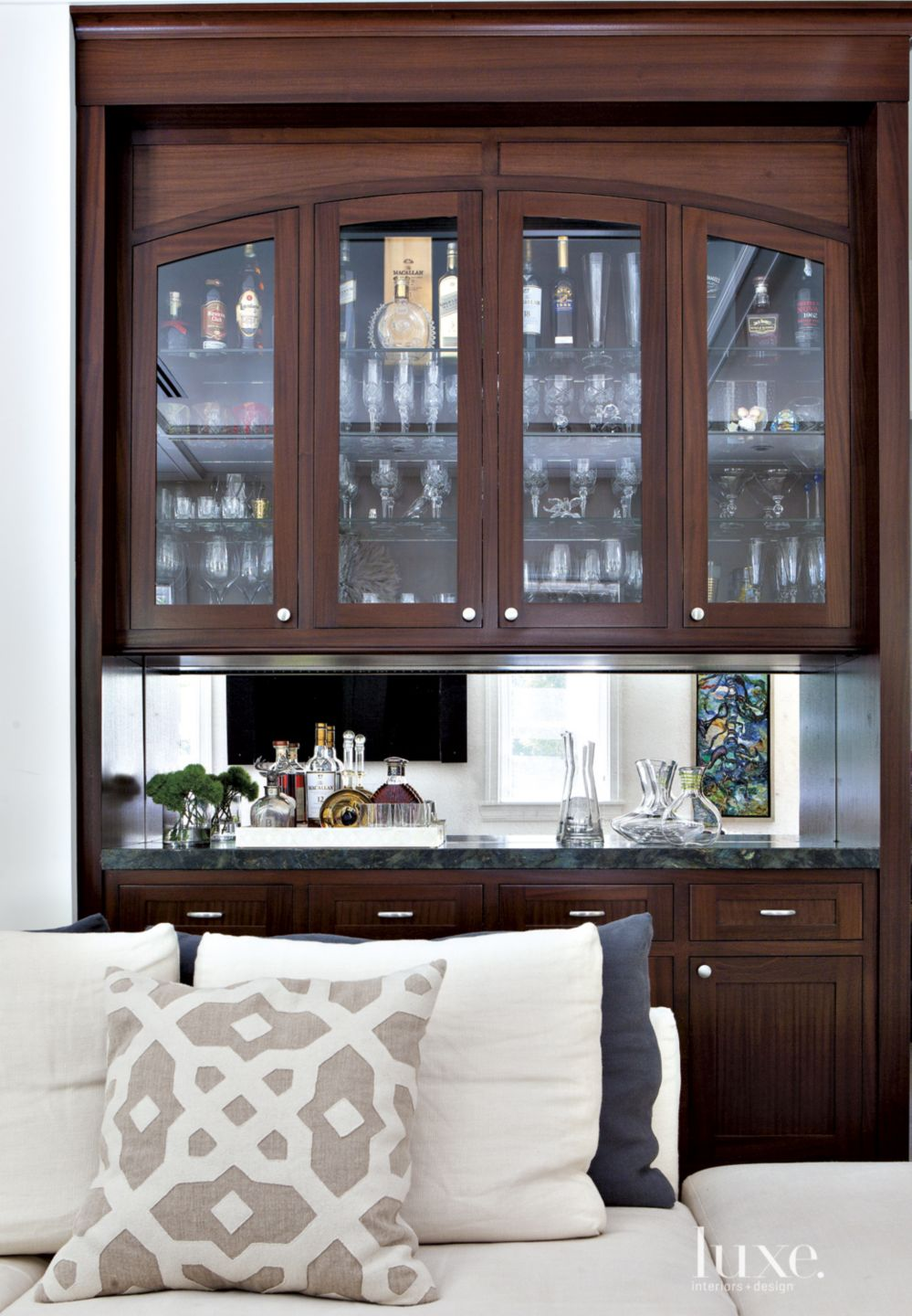 Transitional Family Room with Bar