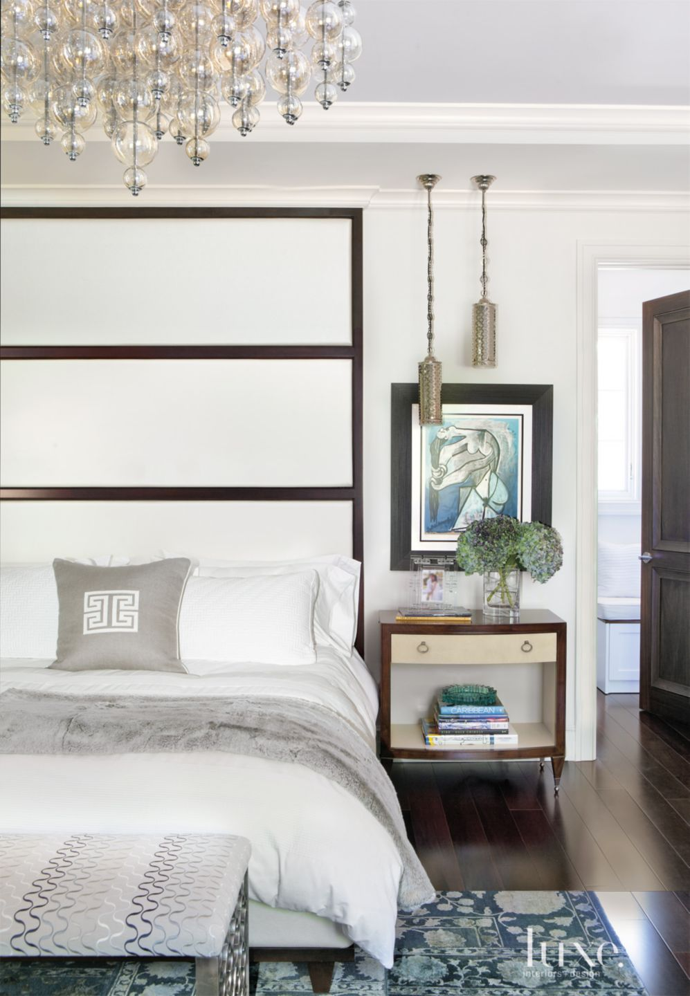 Transitional White Bedroom with Oversized Headboard