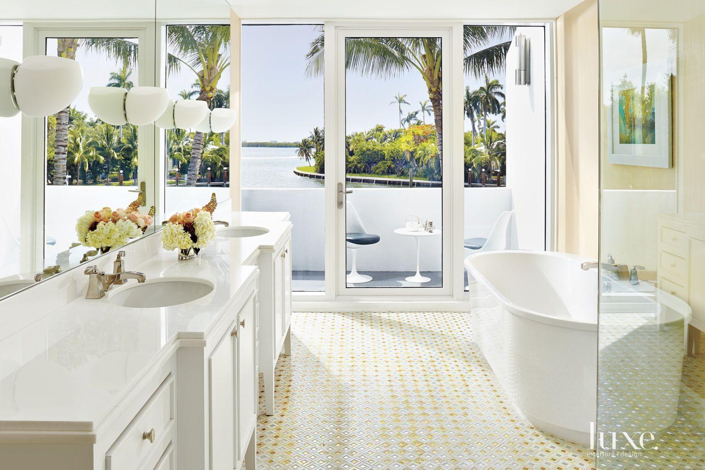 Modern White Master Bath with Private Balcony