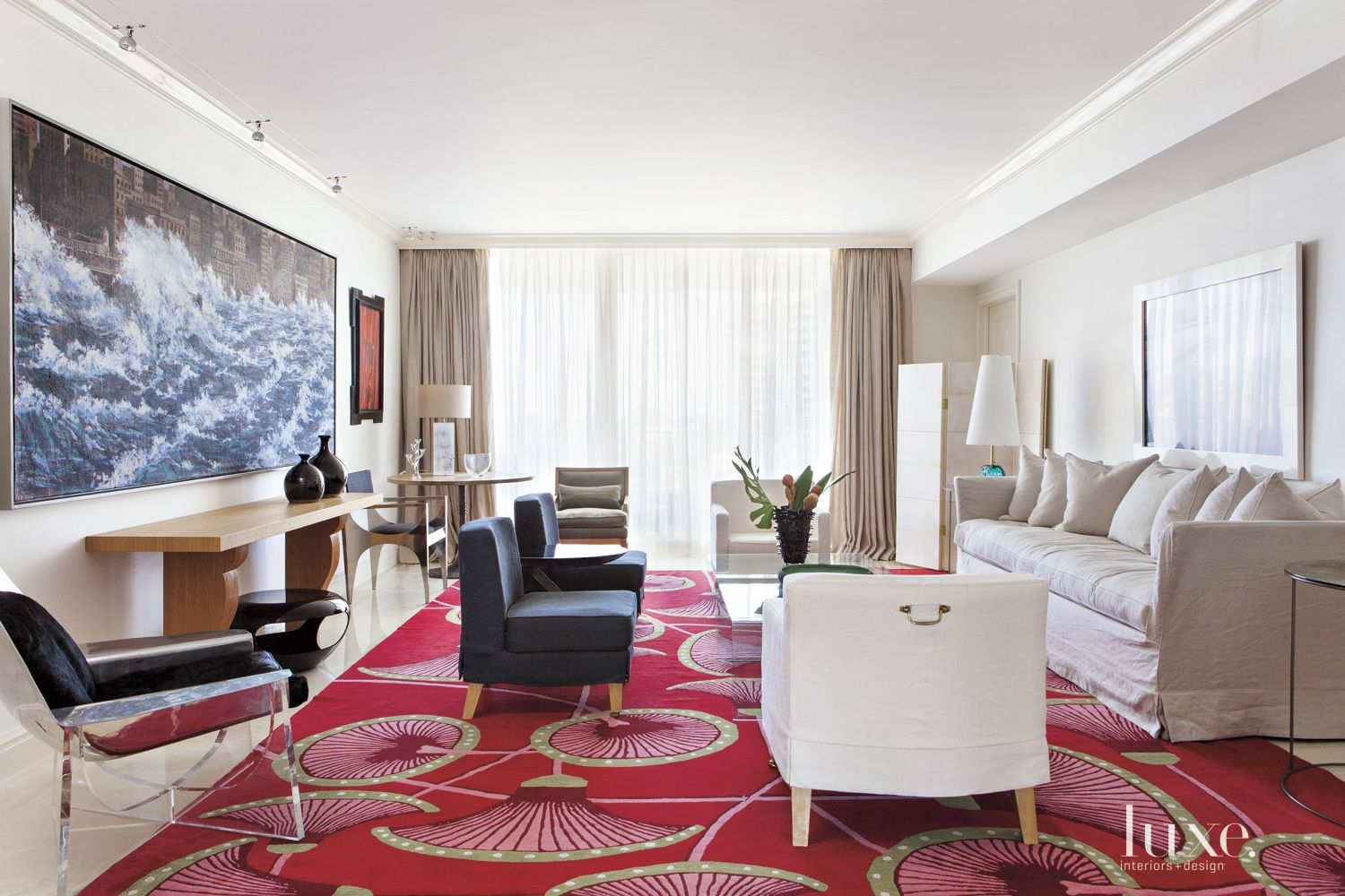 Contemporary White Living Room with Red Statement Rug
