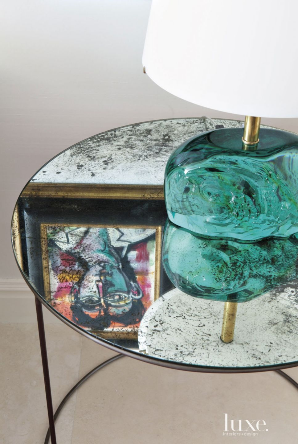 Contemporary Mirrored End Table