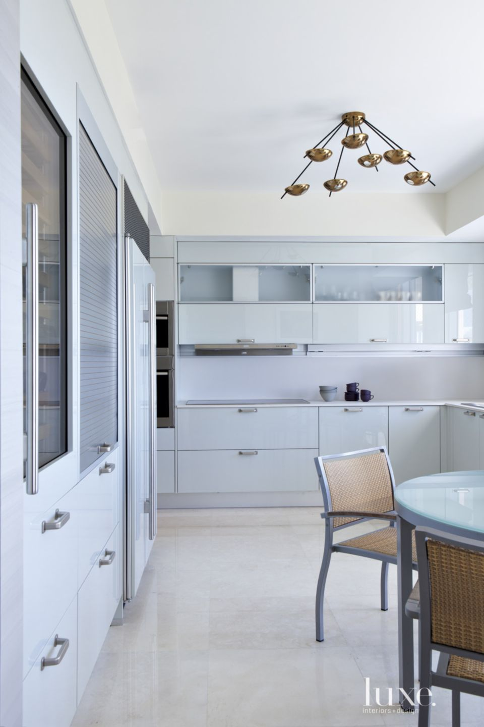 Modern Kitchen with Pale Blue Cabinetry