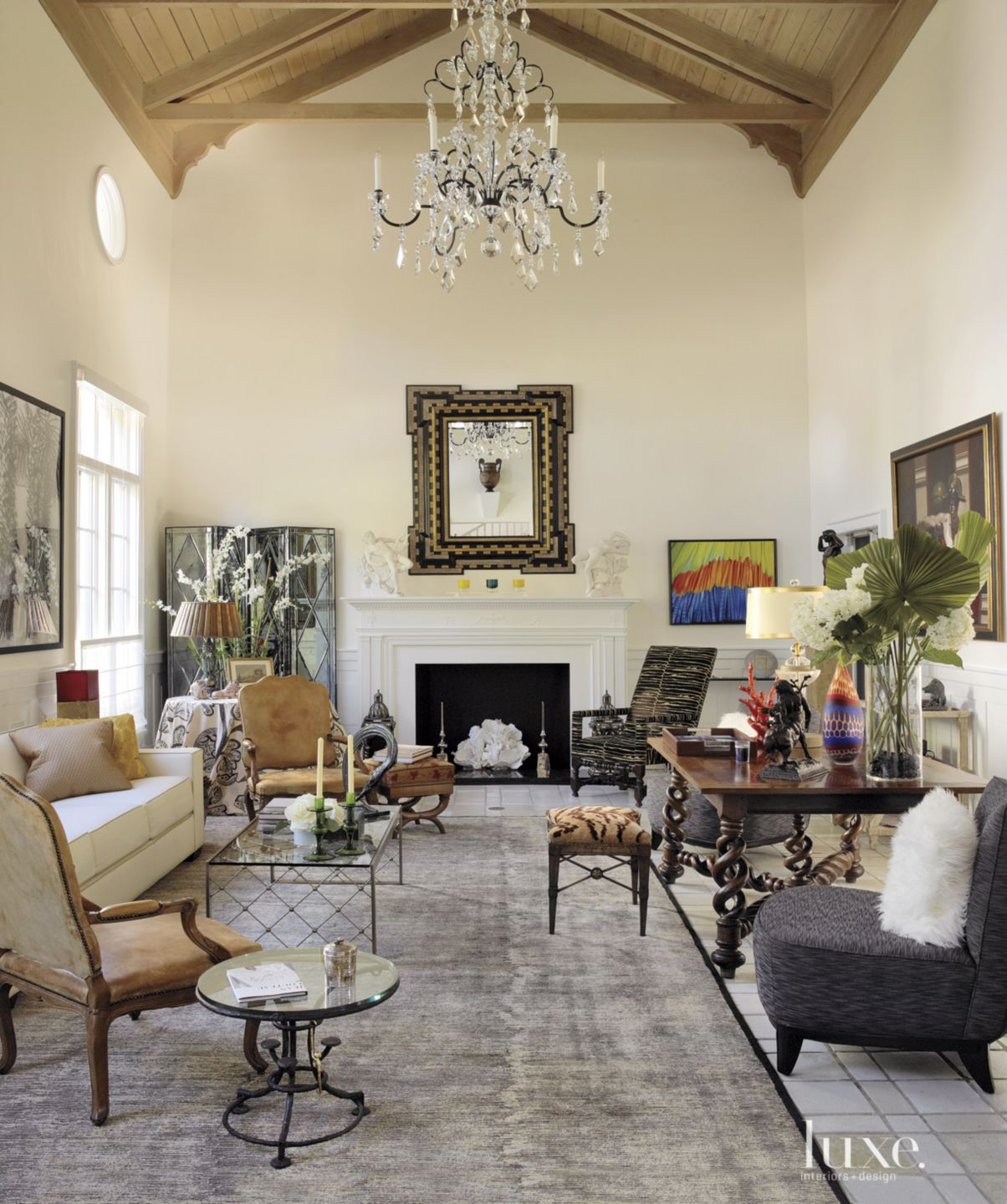 Transitional Cream Living Room with Crystal Chandelier